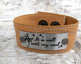 It Is Well With My Soul, Leather Cuff Bracelet, Upcycled Belt, Repurposed, Light brown leather, Antique Silver, LookSomethingShiny