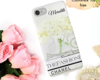 White Chanel Fashion Phone Case, Chanel iPhone Case Ivory Flowers Neutral iPhone X 6 7 8 Plus Samsung Galaxy Case S6 S7 S8 Edge Phone Wallet