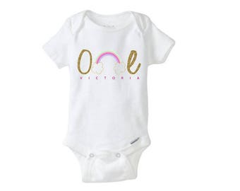 Personalized Rainbow themed first birthday onesie - size 12 months