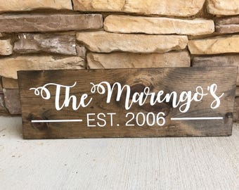 Established family name sign wooden sign wedding gift or new home owner gift