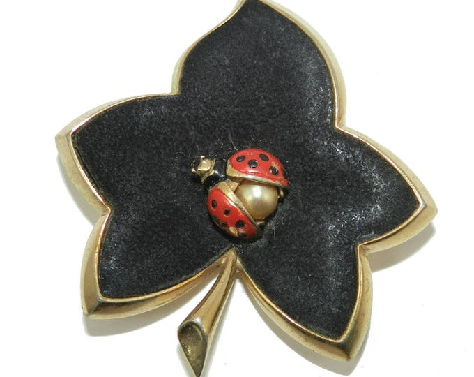 Signed Marcel Boucher Brooch, Boucher Ladybug Brooch Pin, Boucher Leaf Jewelry Jewellery, Vintage Fashion, Collectible Signed Brooch