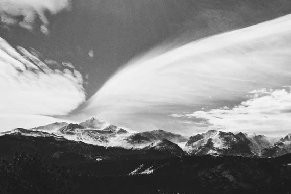 Fine Art Photography | Snowy Peaks Black and White  Print | Wall Art