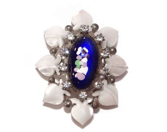 Blue Art Glass Brooch - Vintage Cobalt Blue with Mother of Pearl Petals Pin - Unsigned Beauty