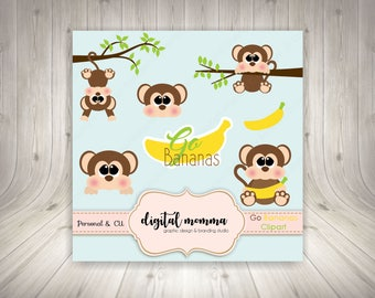 Monkey, Go Bananas Clipart Set, Monkey Clipart, .PNG, Personal & Commercila Use, Instant Download!