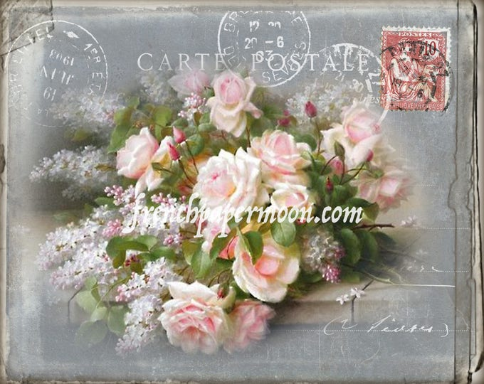 Antique Rose Digital Print, French Graphics, Shabby Chic, Pillow Image, Decoupage, Large Image Download