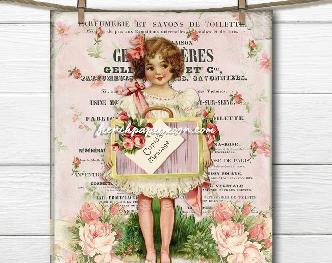 Digital Victorian Valentine, Shabby Pink Valentine, Vintage Girl, French Pillow, Large Image Graphic Transfer