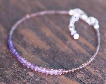Natural Smokey Quartz and Amethyst Bracelet Ombre Sterling Silver , Adjustable , 6th 28th Anniversary , February June Birthstones , OOAK