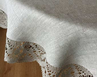 Linen Round Tablecloth Lace Grey Natural Rustic 65 nches