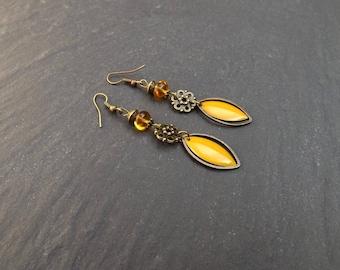 """""""hessa"""" sequin, brass, Czech glass earrings"""