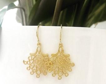 24K Gold plated Filigree Earrings