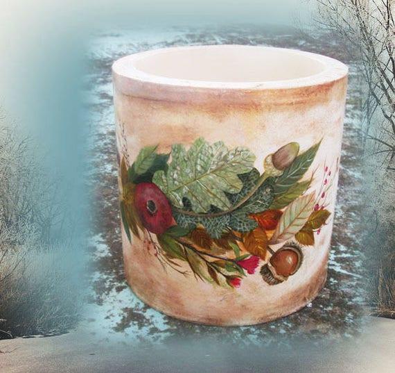 Candle - Round Candle - Round Hollow Candle - Hollow Candle Wax Luminary Candleholder - Hollow Wax Candleholder - Winter Fruits, Still-Life