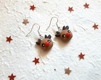 Reindeer earrings, Christmas, Rudolph, Red Nose, Santa Claus