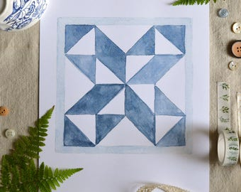 Farmhouse Art/ Farmhouse Decor/ Fall Art/ Quilting decor/Quilt Star/ Watercolor Art Print/ Blue Star- 8x10