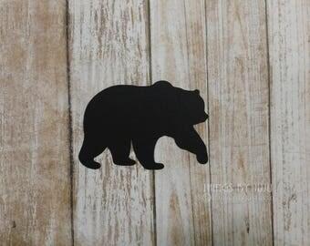 Bear Die Cut Black Bear Paper Bear Black Bear Teddy Bear Lumberjack Party Grizzly Bear Bear Hunter Gift Wilderness  Decor Bear Tags 3x2.25