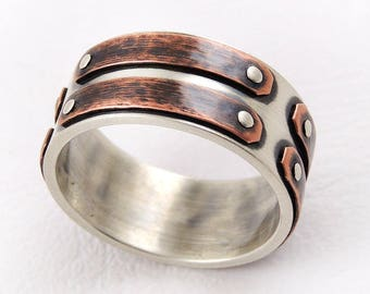 Unique man's wedding band - rustic mens ring,mens engagement ring,alternative ring,mens ring,silver & copper,unique mens ring