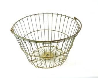 Round Wire Basket with Swing Handle, Vintage Egg Basket, Farm, Gathering, Potato Basket, Farmhouse Decor, Cottage, Organizing Basket, lot 4