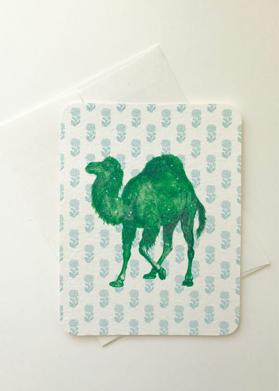Funny Green Camel Card