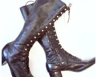 WEEKEND SALE!!!/// Amazing  Vintage Pair of Tall Leather Boots! 8.5N