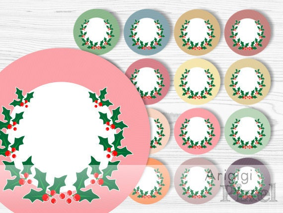 Holly Berries Wreath, circles clip art, digital round frame, multicolored clipart for labels, pillows ... commercial  use, download PNG