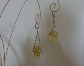 Lucite Dangle Earrings Silver Lever Back Dangle Earrings, Pale Yellow Earrings, Yellow  Geometric Dangle Earrings, Clear Lever Back Earrings