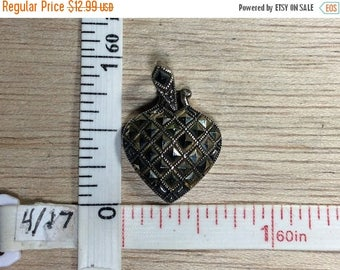 10% OFF 3 day sale Vintage 925 Sterling Silver 4.1g Marcasite Heart Pendant Needs Cleaned Used