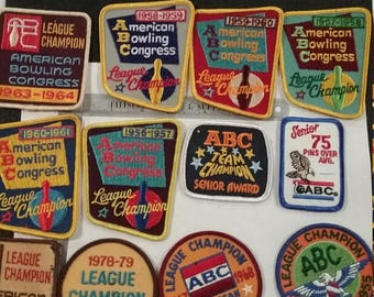10% OFF 3 day sale Vintage  abc bowling league patches 50s and 60s