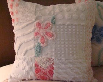 "Pink And White Patchwork Pillow Cover With Flower for 18"" Pillow Insert"