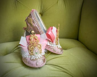 Girl's Marie Antoinette Parisian French Gold Ivory & Pink Heels Feather Pumps Flower Girl Princess Costume Shoes