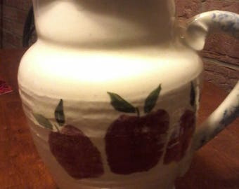 Vintage Apple - Blue stoneware pitcher