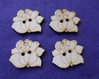 4 buttons, rose, wood, 4 cm (15-0018B)