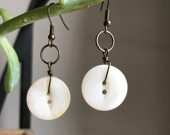 """Vintage Mother of Pearl Earrings Small """"Rounded and Worn"""""""