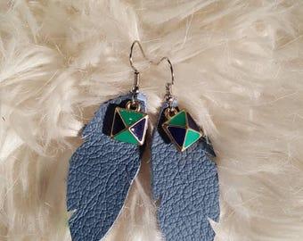 Leather Earrings - Real leather - Handmade jewlery - Earrings - Leather Jewlery