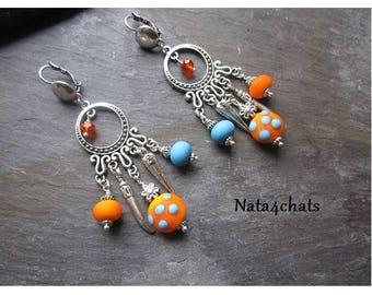 Bohemian earrings Pearl spun torch, orange, blue