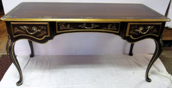 Asian style writing desk with chair handpainted brown lacquer
