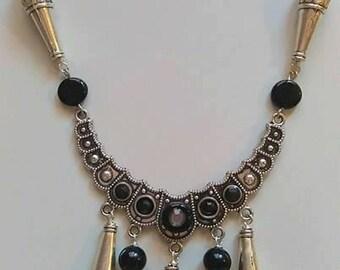 Collana Necklace Collier Tribal Fusion Goth Punk Boho Silver Black