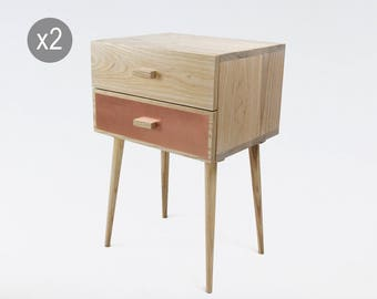 Nightstand scandinavian style x 2 / wood and copper bedside table with drawers / bedroom furniture / mid century modern