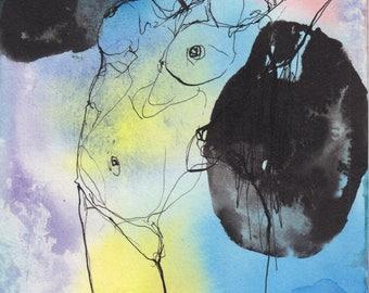 Aura #2- Original ink & watercolor drawing