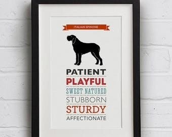 SALE 20% OFF Italian Spinone Dog Breed Traits Print - Great Gift for Italian Spinone Lovers
