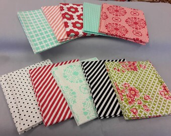10 fat quarters from Bonnie and camille's handmade collection with black stripe
