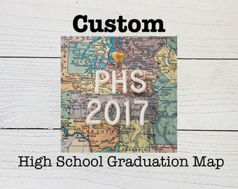 Custom High School Graduation Heart Map - Custom College Graduation Heart Map - Highschool Graduation Gift - College Graduation Gift
