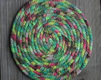 Homespun Green/Pink and Yellow Hot Pad