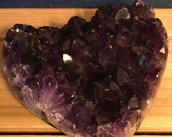 Beautiful  Uruguayan Amethyst Crystal Heart,Stability Stone, Calming, Healing Crystals, Healing Stones, Spiritual Stone, Chakra Stone