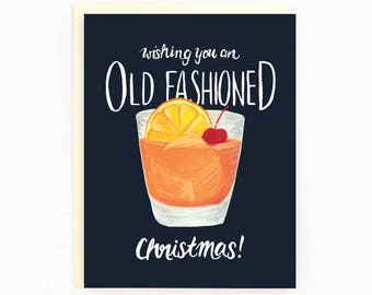 Holiday Drink Recipe Card - Old Fashioned - Wishing you an old fashioned Christmas! / HLY-DRINK-OLDFASHIONED