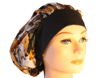Scrub Cap Surgical Hat Tie Back Bouffant - Brown Western Horses Black White - 2nd Item Ships FREE