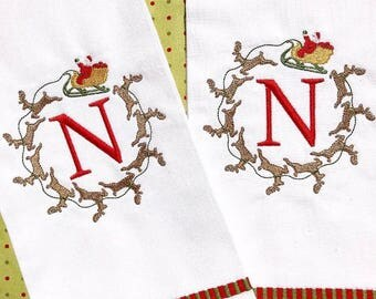 Monogrammed Christmas Tea Towel