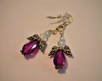 Purple Crystal Angel earrings