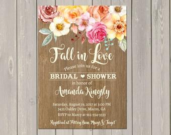 Fall Bridal Shower Invitation, Fall in Love Bridal Shower Invite, Rustic Watercolor Fall Flowers, Pumpkins, Shower Invitation