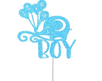 It's A Boy Cake Topper, Baby Cake Topper, Gender Reveal Cake Topper, Baby Shower Cake Topper, Elephant Topper, New Baby, Sprinkle