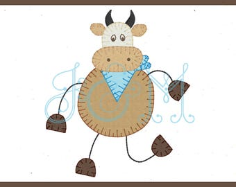 4x4 Dancing Cow Vintage Style Applique Embroidery Design