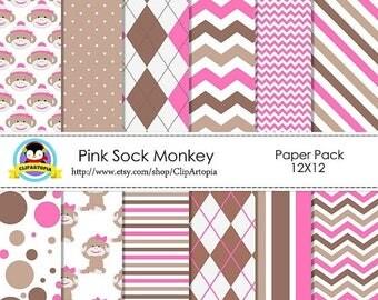 50% OFF SALE PINK Sock Monkey Digital Paper Pack, pink sock monkey paper digital, pink and Brown digital